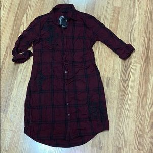 a.n.a. NWT❗️Wine Plaid Shirt Dress